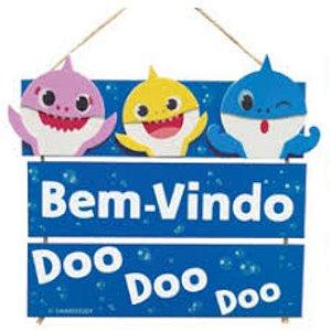 ENFEITE PLACAS  BEM VINDO DOO DOO DOO - FESTA BABY SHARK - GRINTOY