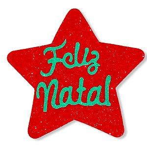 APLIQUE EM EVA GLITTER ESTRELA - FELIZ NATAL  - NATAL - CORES VARIADAS - 01 UNIDADE - MAKE FESTAS