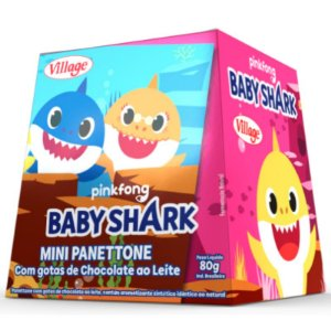 MINI PANETTONE COM GOTAS DE CHOCOLATE AO LEITE BABY SHARK - 80 G -  VILLAGE