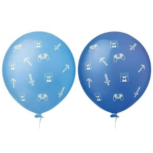 "BALÃO DE LÁTEX GAMER SORTIDOS 11"" 28 CM 25 UNIDADES - HAPPY DAY"