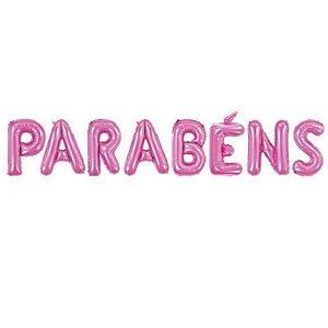 """BALÃO METALIZADO - 16"""" 40CM - PINK - PARABÉNS - CONTÉM 1 CONJUNTO COM 8 BALÕES - REF.: 8605 - MAKE+"""