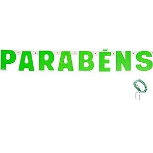 FAIXA DECORATIVA PARABÉNS FESTA COLORS - VERDE NEON - CONTÉM 01 UNIDADE - REGINA FESTAS