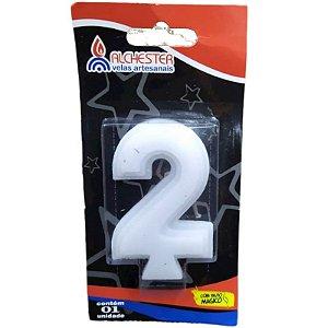 VELA DE ANIVERSÁRIO 3D BRANCO - N° 2 - 01 UNIDADE - ALCHESTER