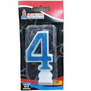 VELA DE ANIVERSÁRIO GLITTER AZUL - N° 4 - 01 UNIDADE - ALCHESTER