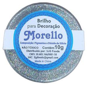 BRILHO  PARA DECORAÇÃO HOLOGRAFICO PRATA - 10G - MORELLO