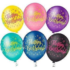 "BALÃO HAPPY BIRTHDAY SORTIDO - ""10"" - 25 UNIDADES - PIC PIC"