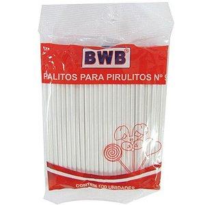 PALITO PARA PIRULITO PEQUENO BRANCO - COM 100 UNIDADES -  BWB