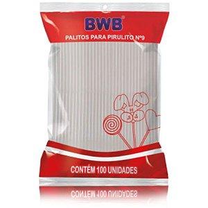 PALITO PARA PIRULITO PEQUENO CRISTAL - N°9 - COM 100 UNIDADES -  BWB