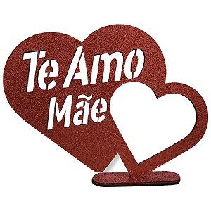 DECORAÇÃO DE MESA MDF - TE AMO MÃE - VERMELHO - 17 X 23 CM - MAKE FESTAS