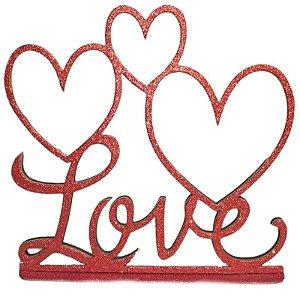 DECORAÇÃO EM MDF - LOVE 3 CORAÇÕES - VERMELHO - 12 X 16 CM - MAKE FESTAS