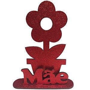 DECORAÇÃO EM MDF - FLOR + MÃE - VERMELHO - EVA COM GLITTER - VERMELHO - 01 UNIDADE - MAKE FESTAS