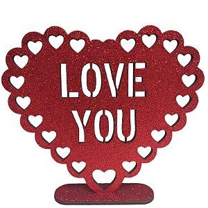 DECORAÇÃO MDF - LOVE YOU - CORAÇÃO - VERMELHO - EVA COM GLITTER - 01 UNIDADE - 17 X 19 CM - MAKE FESTAS