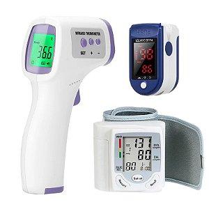 Kit Saúde adulto - Termômetro, Oxímetro e Medidor de pressão