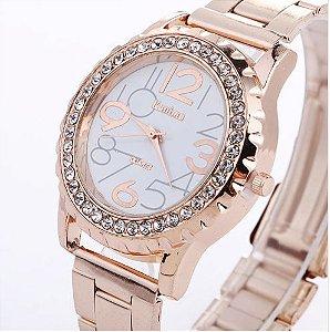 Relógio de pulso feminino Strass Grandes Números - Luxo Cristal
