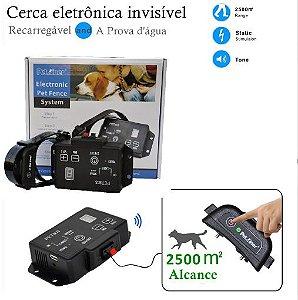 Cerca eletrônica invisível PetAiner recarregável - Para adestramento de cães com 1 Coleira