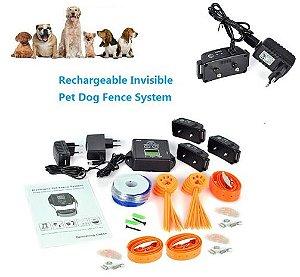Cerca Eletrônica Invisível Para adestramento de Cães C/ 3 Coleiras recarregáveis