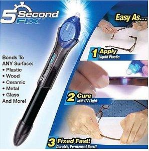 Super Cola Power 5 segundos - Aplicador de cola líquida plástica com Luz UV rápida fixação.