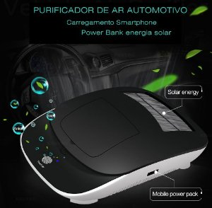 Purificador de ar Automotivo por ozônio / Movido por energia solar com carregador Power Bank para smartphone