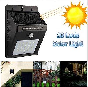Lâmpada Luz Led Com carregador Solar e Sensor presença balizador.