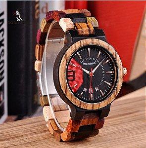 Relógio Bobo Bird - Bambu Madeira Modelo Sport Q13 Data