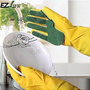 Par de Luvas de limpeza doméstica com esponja de lavar louça