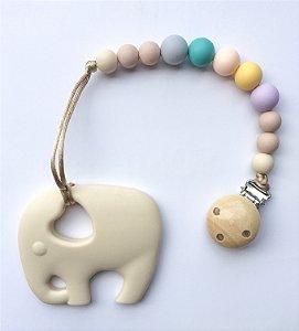 Mordedor de Silicone & Prendedor de Bico - Elefantinho Nude