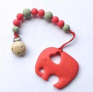 Mordedor de Silicone & Prendedor de Bico - Elefantinho Vermelho