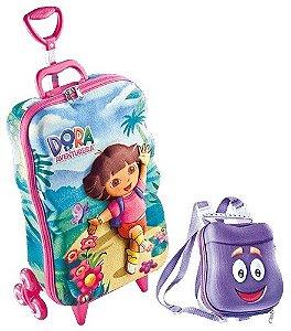 Mochila Escolar Baú 3D Dora Aventureira 2822M17 + Lancheira Escolar Infantil 2822X19