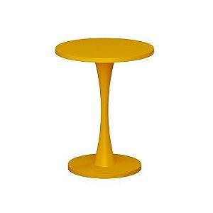 Mesa Lateral Redonda Amarelo Bely em MDF