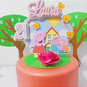 Topo de bolo em 3D sem canudo - Peppa * Leia a Descrição*