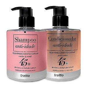 Kit Shampoo  & Condicionar Anti-idade para cabelos 45+ Fios Finos Nano Reconstrução