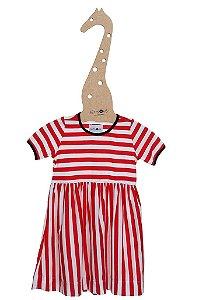 Vestido Mariner Vermelho Manga Curta