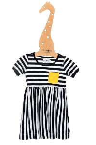 Vestido Mariner Marinho com Bolso Amarelo Manga Curta