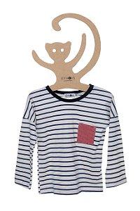 T-Shirt Listrada Azul Marinho e Off White, Manga Longa