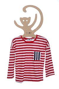 T-Shirt Listrada Vermelho e Off White, Manga Longa