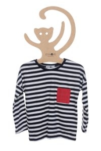 T-Shirt Listrada marinho e Off White, Manga Longa
