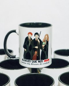 Caneca Harry, Hermione e Rony | Harry Potter