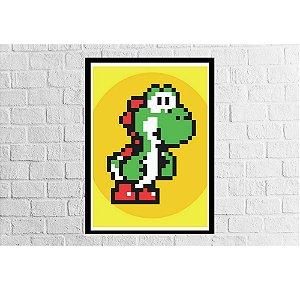 Pôster Emoldurado Yoshi Pixel - Meu Game Barato