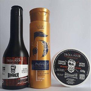 Kit masculino shampoo Tróia hair+ Liso já ouro+ Pomada Tróia hair