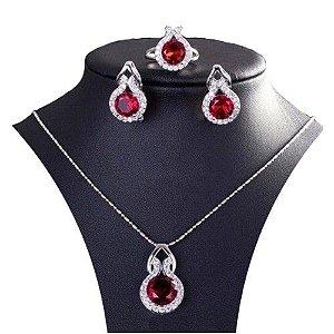 Conjunto Trio  Elegancia Rubi em Prata 925  Colar Brincos e Anel com pedra Zirconia Rubi Coleção Joias da Princesa