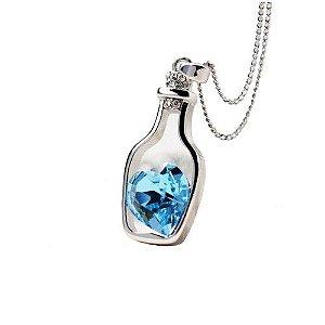 Pingente Gota de Amor Colar e Garrafa em Aço inoxidavel Pedra Zirconia Azul no formato de coração