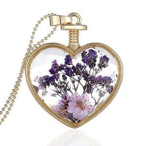 Pingente Flores do Coração Colar em Aço Inoxidavel Forma de Coração em Cristal com Flores do Campo