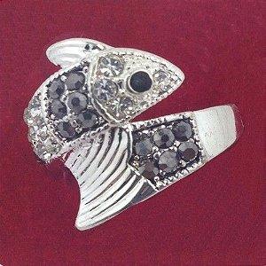 Anel de Brilhante Pedra Strass Poder da Luz Model D2 em Prata 925 Coleção Joias da Rainha