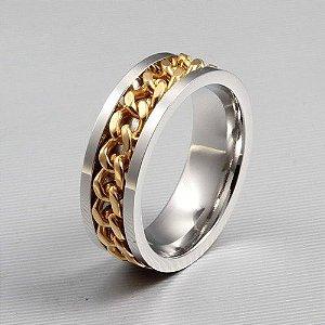 Anel Corrente do Amor em Aço Inox e Folheado Dourado Coleção Luz Dourada (Legitimo)