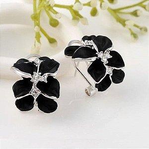 Brinco Flor Negra em carbono Folheado em Ouro Branco com autentico cristais australiano Coleção O Preto Belo