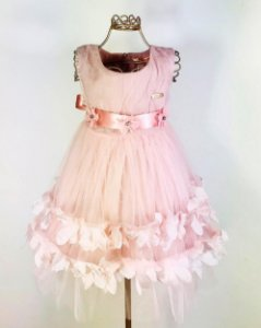 Vestido Festa Bebê Flores 3D