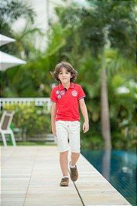 Camiseta Polo Masculina Vermelha Kiki