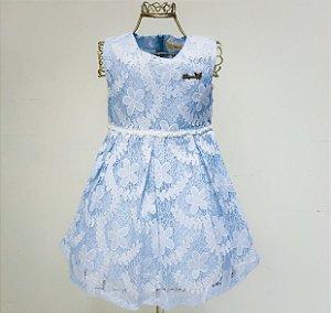 Vestido Azul Renda Mily