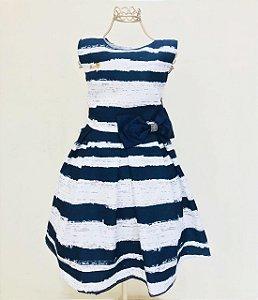 Vestido Azul Marinho e Branco