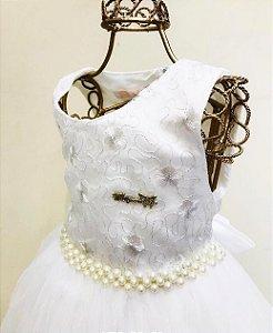 Vestido Branco c/ Pérola Mily Festa